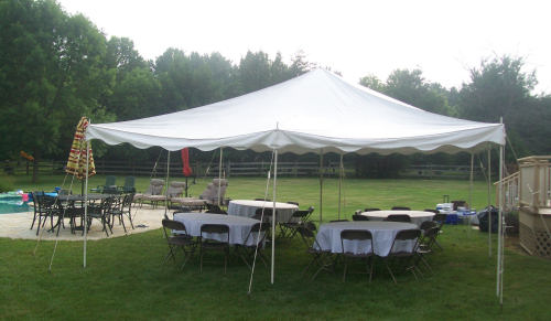 20 x 20 Pole Tent Package - Round Tables