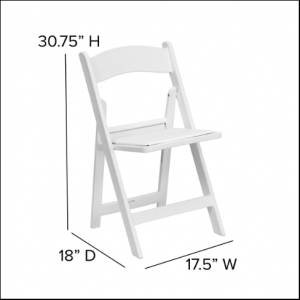 White Resin Chair Size